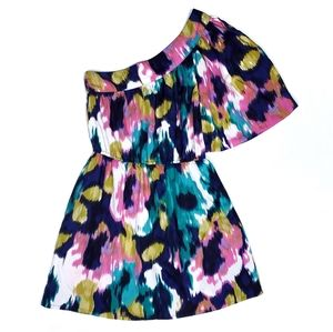 Angie Watercolor One Shoulder Mini Dress Silky